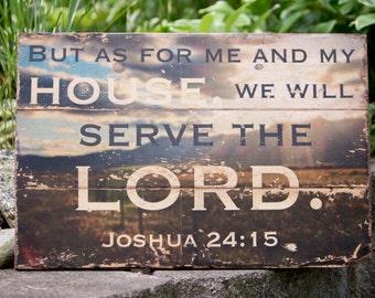 "Joshua 24:15 Wood Print 25x16.5"""