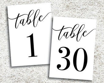 Printable Table Numbers 1 - 30 | Instant Download | Printable Wedding Table Numbers | Events | Banquet | Anniversary Party | (FROST Set)