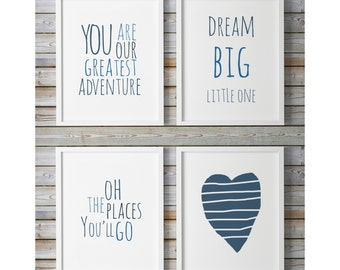 Oh The Places You'll Go, You Are Our Gratest Adventure, Dream Big, Boys Room Decor Gallery Wall Illustration Kids, Nursery Printable Quotes