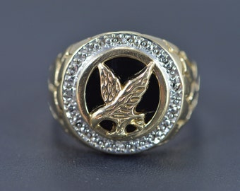 10K Nugget Diamond Halo Eagle Black Onyx Ring Size 11 Yellow Gold