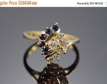 ON SALE 10K 0.45 Ctw Diamond Sapphire Cluster Ring Size 7 Yellow Gold