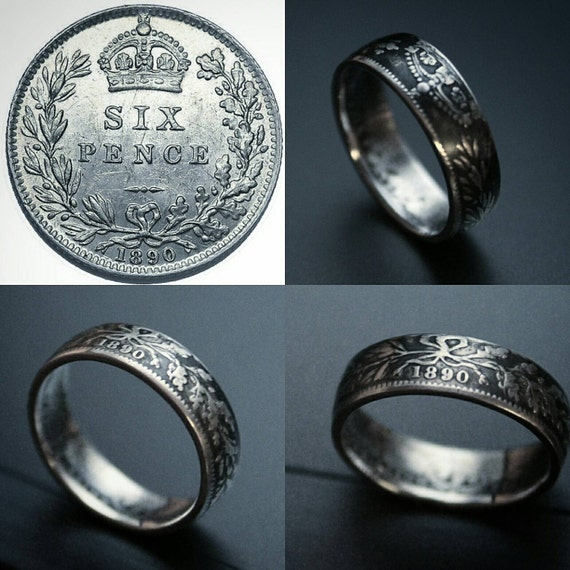 sterling silver sixpence coin ring luck sixpence