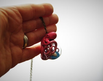 hand blown glass ball necklace glass vial pendant polymer clay mini glass bottle octopus necklace with starfish seashells blue pink blown glass bottle pendant