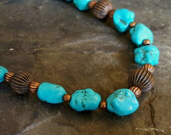 Turquoise Nugget and Copper - necklace