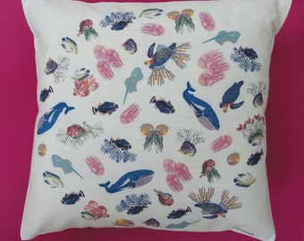 Cushion sea collection Capsule, printed on natural cotton cover