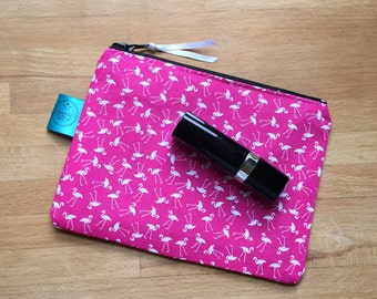 Flamingo make up bag, pink make up bag, purse, camera case, pouch, phone case, travel, gift for her, alternative, cosmetic bag