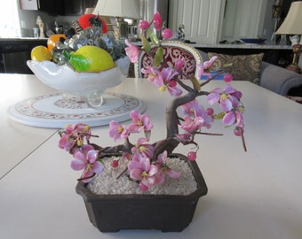 JAPAN GUMPS BONSAI Pink Glass Bonsai Tree