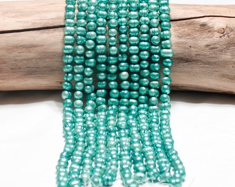 Teal Green Freshwater Pearl Strand Loose Pearls Jewelry Supply Beading Supplies Cultured Genuine Large Pearls Potato Pearls Canadian Seller