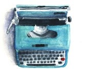 Blue Typewriter Watercolor Print 8 x 8