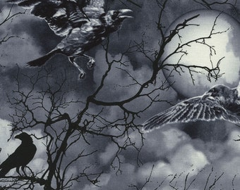 Timeless Treasures - Black Crows and Moon from Wicked Eve Collection #C3762-BLK