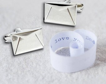Personalised Signed, Sealed and Delivered cufflinks in luxury chrome box.