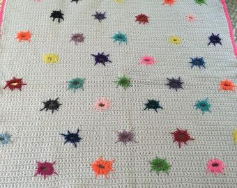Paint Splatter Blanket/ Handmade Afghan/Colorful Crochet Blanket/Girls Crochet Blanket/Crochet Throw/Crochet Afghan/Home And LIving