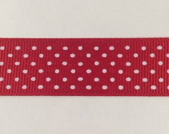 7/8 Inch Red and White Swiss Dot Grosgrain Ribbon