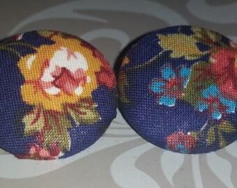 SALE~~30% OFF~~Blue Floral Earrings-- Vintage-- Handmade Earrings--Fabric Button Earrings