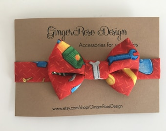 Tool Bow Tie; Construction Bow Tie; Builder Bow Tie; Handyman Bow Tie; Red Bow Tie; Boy Bow Tie; Baby Bow Tie; Toddler Bow Tie