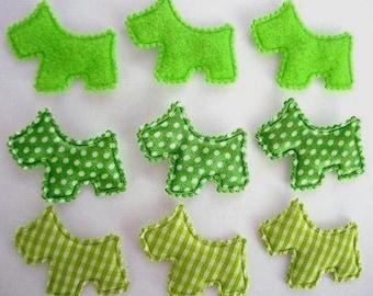 SET of 15 Felt/Plaid/Satin Polka Dots Padded Scottie Dog Puppy Applique Shades of Green