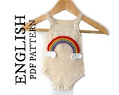 Rainbow Baby Romper KNITTING PATTERN, Baby Onesie Knitting Pattern, Knit Baby Sunsuit Pattern, Instant Download, PDF baby pattern, ohlalana