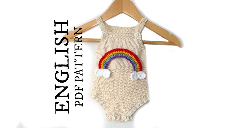 Baby Onesie Knitting Pattern : Baby Romper KNITTING PATTERN Baby Onesie Knitting Pattern