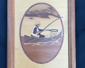 Hudson River Inlay Wooden Marquetry Picture / Fisherman Marquetry Art / Cottage Decor / Marquetry Picture by Jeff Nelson/Vintage Marquetry