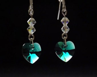 Swarovski Elements Crystal Heart Emerald MAY Birthstone 925 Sterling Silver Earrings NEW