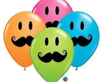 "12 Pack Smile Mustache 11"" Latex Balloon"