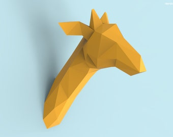 Giraffe Head Papercraft PDF Pack - 3D Paper Sculpture Template with Instructions - DIY Wall Decoration - Animal Trophy