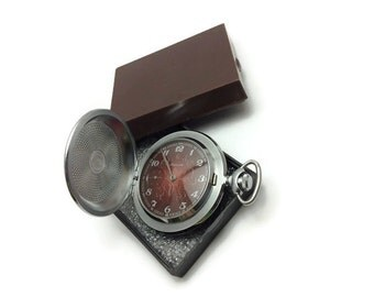 Soviet USSR Pocket watch Molnija. Volume patterns. Molnia Excellent condition Russian gift pocket watch in a special box.Great gift for him!