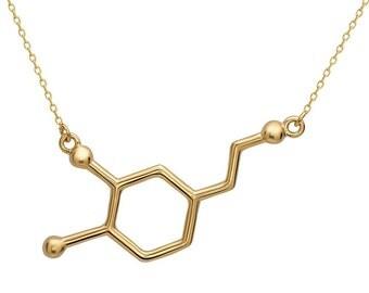 Dopamine Molecule Necklace Gold-Tone Alloy - Dopamin Halskette Anhänger Geek Nerd Student Pharmacy Chemistry Medicine by Serebra Jewelry