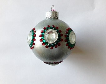 Bejeweled Silver Round Christmas Ornament