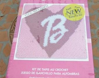 "Barbie Rug Hook Kit Fun Heart Art # LR 0012 Caron New Sealed 12 x 12 ""  30.5 x 30.5 Cm Pink B Initial Girl Gift Idea"