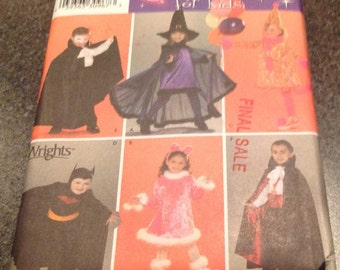 Simplicity Sewing Pattern 3595 Dress Cape Dress Tail Headband  Costumes For Kids Dracula Witch Kitten  Magician Cat S 3-8 New Uncut
