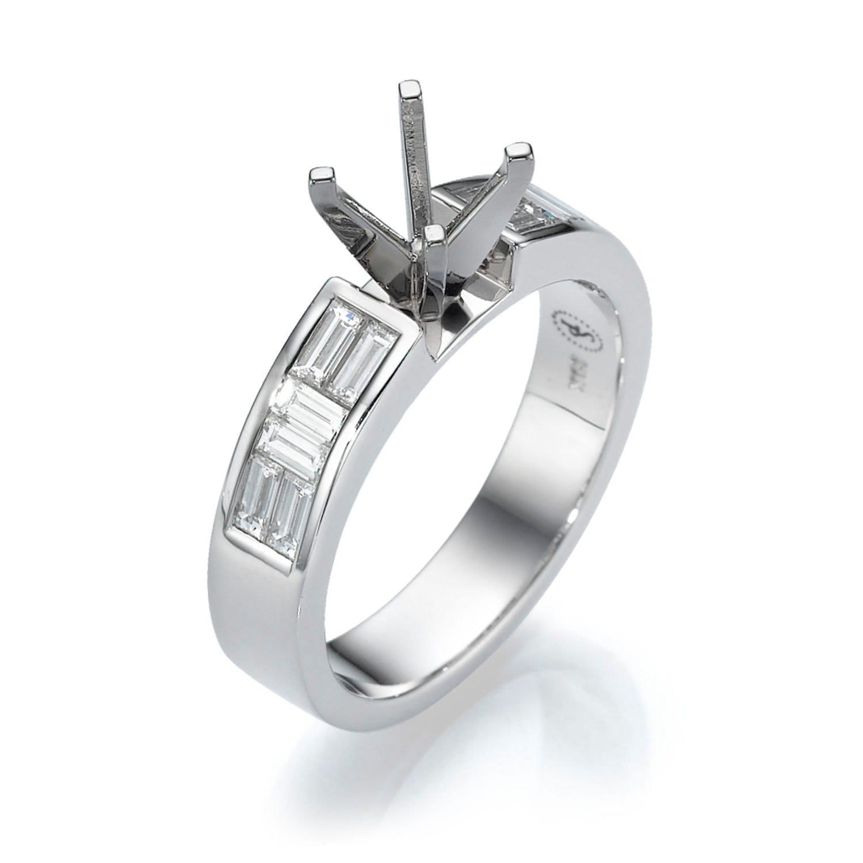 Diamond Ring Setting 18K White Gold Ring 0 73 CT Baguette