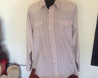 1970's Pearl Snap Western Pinstripe Shirt