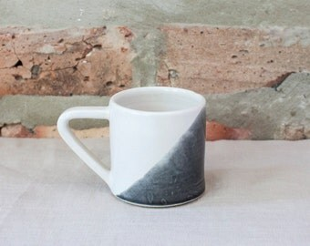 Gray Dipped White Geometric Ceramic Espresso Cup by Barombi Studios