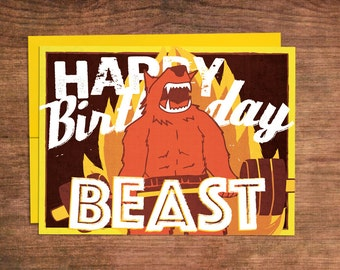 Crossfit Birthday Card - Beast Mode, Weightlifting, Powerlifting, Barbell, Fitness