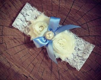 Bridal garter (Blue ribbon) Vintage wedding accessories