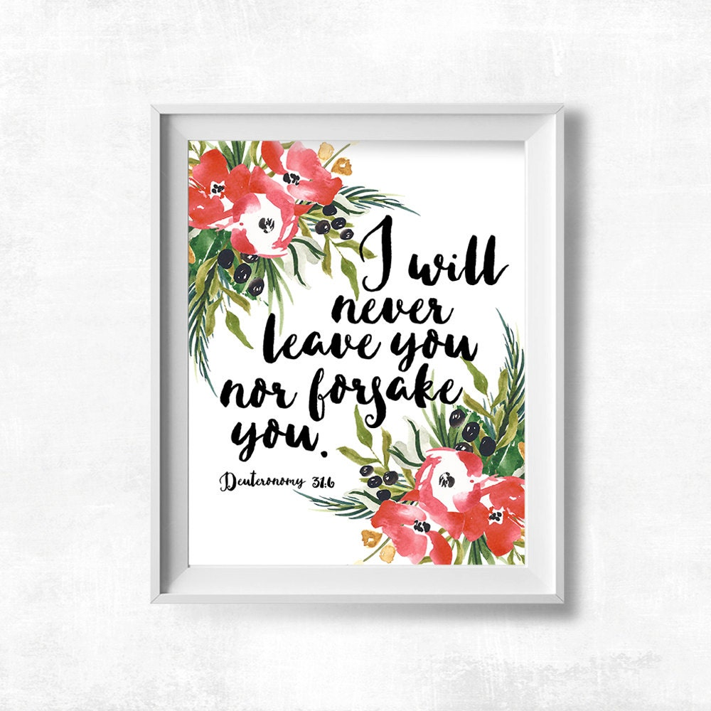 Bible verse printable nursery decor i will never leave you for Bible verse decor