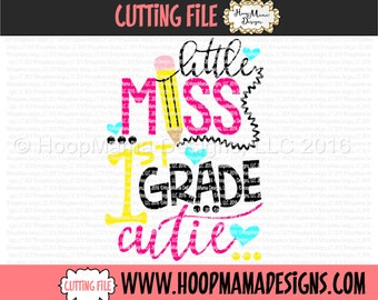 Little Miss 1st Grade Cutie SVG DFX EPS and png Files for Cutting Machines Cameo or Cricut Back to School First Day Of School