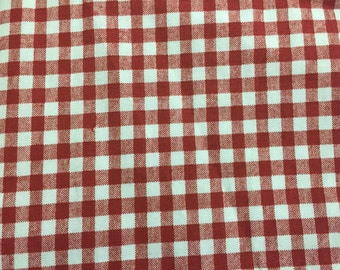 Red and a White checked window valance
