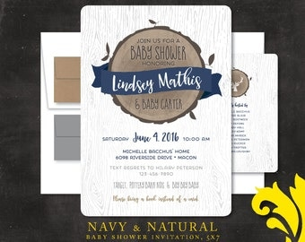 NAVY & NATURAL . baby shower invitation