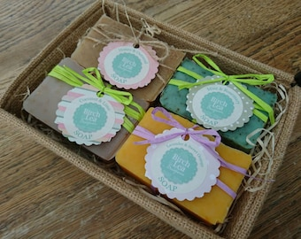 Soap gift set, jute box, natural handmade soaps, 4 soap bars, you choose the scents