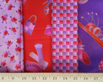 Red Hat Society Metallic Gold Fat Quarter Set, 4 Fat Quarters, Includes Out Of Print & Hard to Find Fabrics, Marcus Brothers 100% Cotton