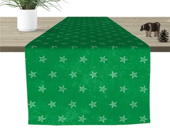 Stars Table Runner Green 16x90""