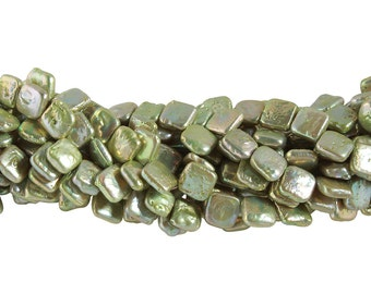 15 1/2 IN Strand 10 mm Freshwater Pearls Square Top Drilled Green Color (FWB1001032)