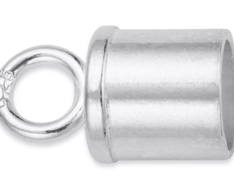 2 Pcs 5 mm Sterling Silver Tube End Caps W/ Closed Ring (SS4003504)