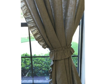 Sale - A pair of Dark Linen curtains with ruffles on the leading edges, 65 W x 84 L, unlined, Ready to ship
