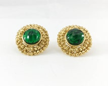 Yves Saint Laurent Emerald Green Gripoix Gold-Plated Earrings - 1980s