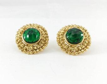 Yves Saint Laurent Emerald Green Gripoix Gold-Plated Earrings - 1980s