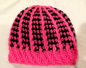 Striped all the way down baby hat