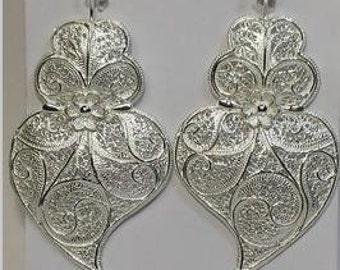 Sterling silver filigree earrings - 60mms long